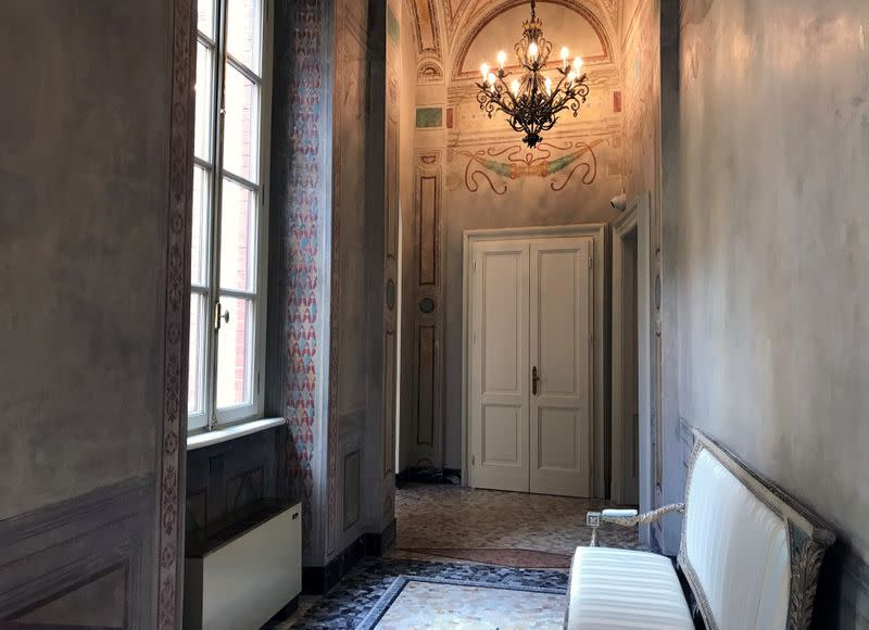 A corridor of the UBI Banca's Milan offices, where CEO Victor Massiah worked during the lockdown due to the spread of the coronavirus disease (COVID-19), is seen in Milan