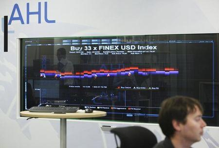The trading screen at AHL-MAN asset management company in the city of London