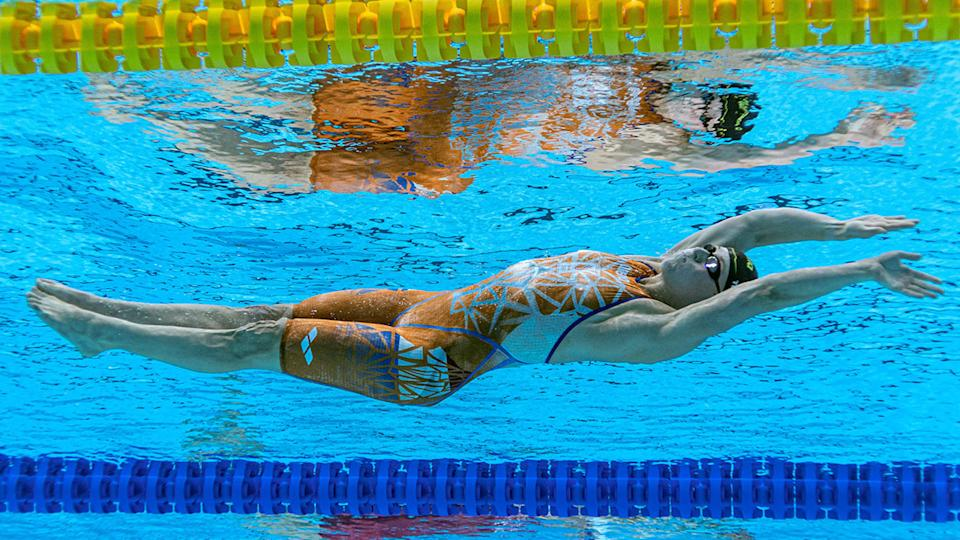 Kira Toussaint made it into the final of the women's 100m backstroke on Monday. Pic: Getty