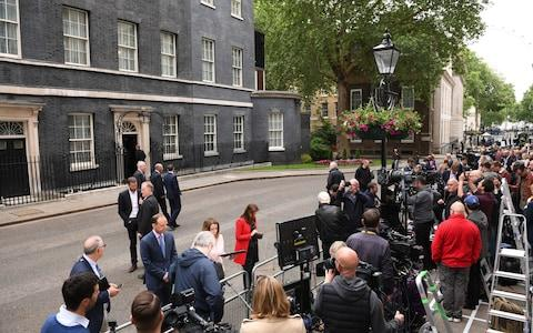The media gather in Downing Street - Credit: Stefan Rousseau/PA