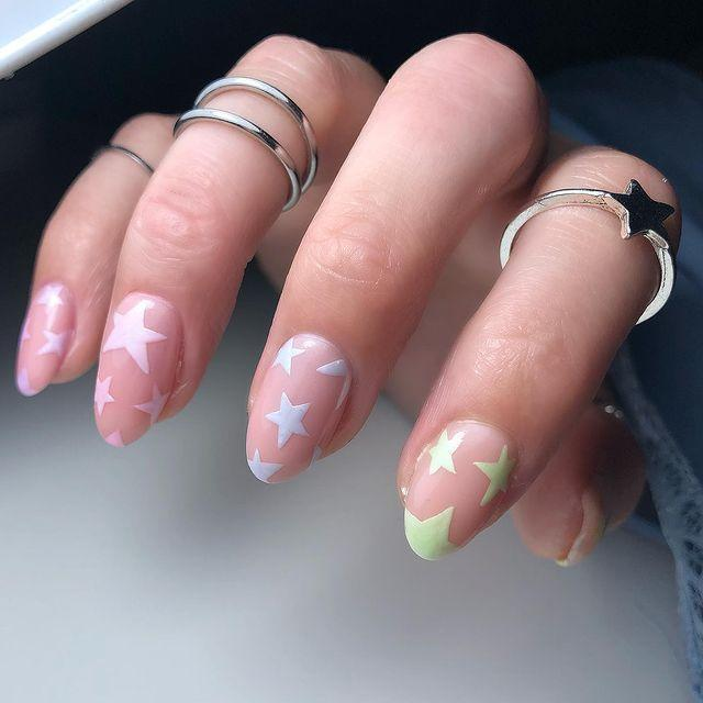 """<p>Pastels are such a delicate way to add a pop of colour to nude nails.</p><p><a href=""""https://www.instagram.com/p/CLtMHbQMH3w/"""" rel=""""nofollow noopener"""" target=""""_blank"""" data-ylk=""""slk:See the original post on Instagram"""" class=""""link rapid-noclick-resp"""">See the original post on Instagram</a></p>"""