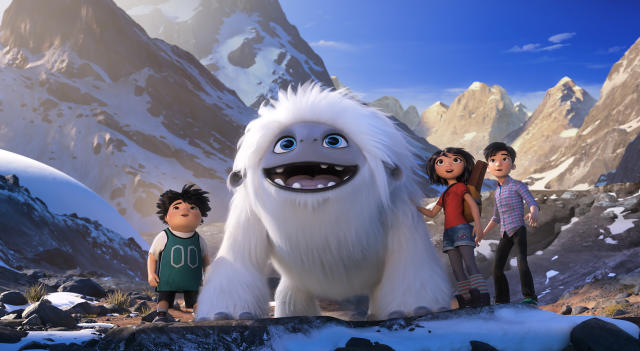"This image released by DreamWorks Animation shows characters, from left, Peng, voiced by Albert Tsai, Everest the Yeti, Yi, voiced by Chloe Bennet and Jin, voiced by Tenzing Norgay Trainor, in a scene from ""Abominable,"" in theaters on Sept. 27. (DreamWorks Animation LLC. via AP)"