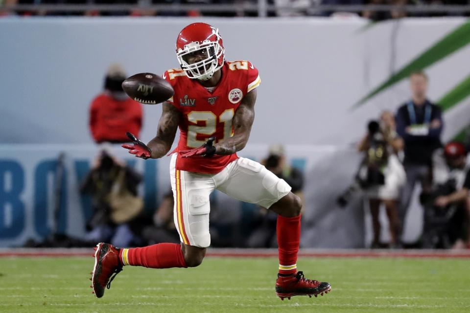 Kansas City Chiefs' Bashaud Breeland (21) intercepts a pass against the San Francisco 49ers during the first half of the NFL Super Bowl 54 football game Sunday, Feb. 2, 2020, in Miami Gardens, Fla. (AP Photo/Wilfredo Lee)