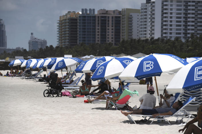 Miami beaches re-open in accordance with Miami Dade County's Phase One during the Coronavirus COVID-19 pandemic on June 12, 2020 in Miami Beach, Florida. (MediaPunch /IPX via AP