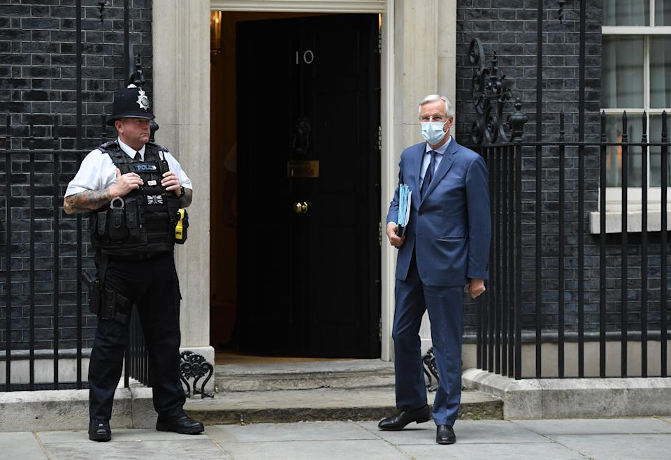 EU chief negotiator Michel Barnier arrives at 10 Downing Street in London. Photo: Leon Neal/Getty Images