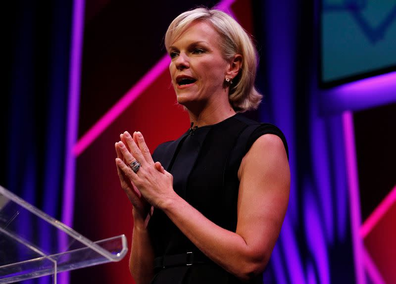 FILE PHOTO: Elisabeth Murdoch gestures during a rehearsal of her MacTaggart Lecture during the Edinburgh International Television Festival in Edinburgh