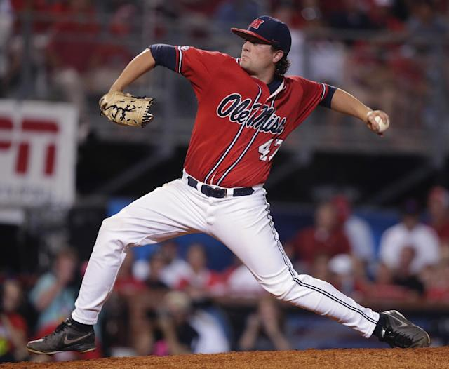 Mississippi pitcher Christian Trent (47) pitches in the second inning of an NCAA college baseball tournament super regional game against Louisiana Lafayette in Lafayette, La.,Sunday, June 8, 2014. (AP Photo/Gerald Herbert)