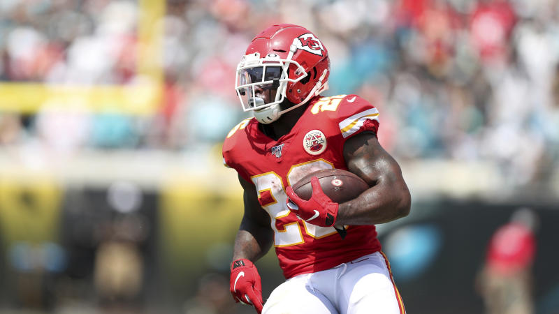 Kansas City Chiefs running back Damien Williams (26) makes a reception during an NFL football game against the Jacksonville Jaguars, Sunday, Sept. 8, 2019, in Jacksonville, Fla. The Chiefs defeated the Jaguars 40-26. (AP Photo/Perry Knotts)