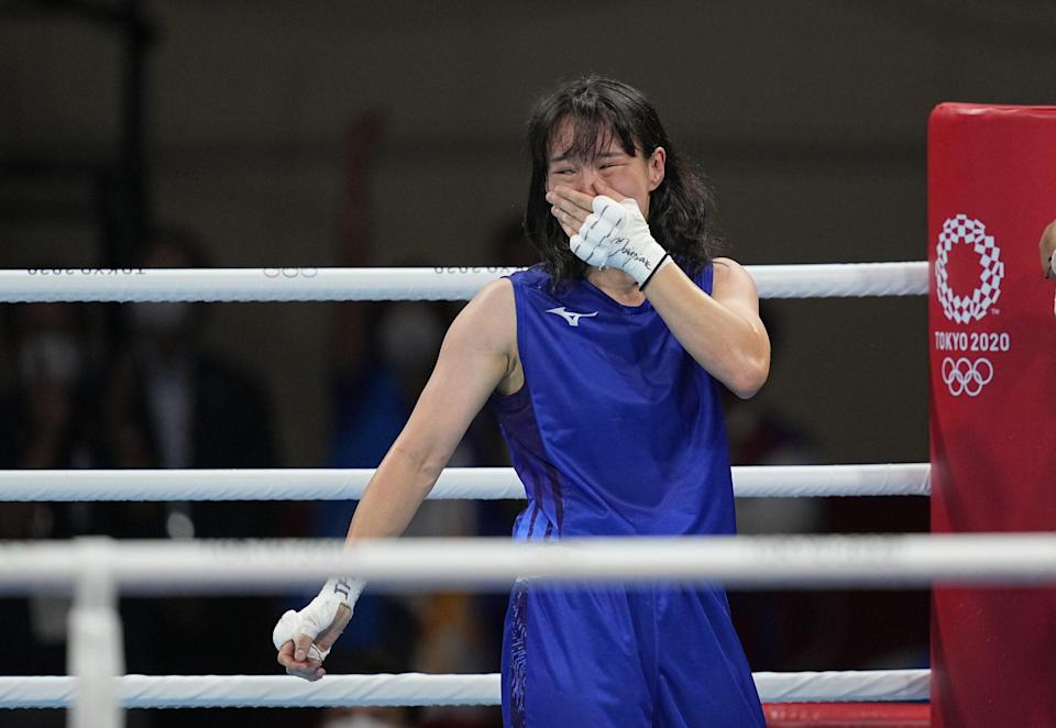 <p>Japan's Sena Irie is overcome with emotion after winning gold at boxing at Kokugikan arena on August 3.</p>