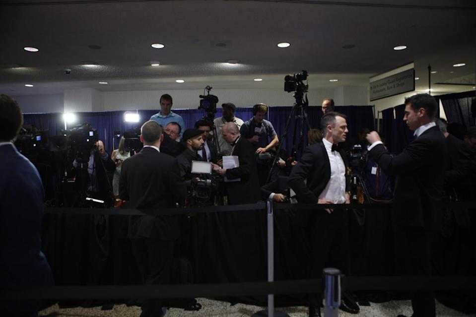 <p>The press awaits the red carpet arrivals at the 2016 White House Correspondents' Dinner at the Washington Hilton in Washington, D.C. <i>(Photo: Khue Bui for Yahoo News)</i></p>