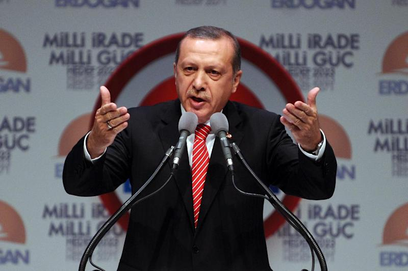 Turkey's Prime Minister and presidential candidate Recep Tayyip Erdogan gestures as he delivers a speech during a campaign rally in Istanbul on July 11, 2014