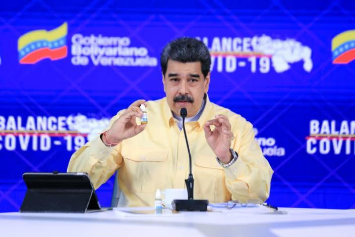 Venezuela's President Nicolas Maduro speaks during an announcement promoting what Venezuela's government says is a miracle cure for coronavirus disease (COVID-19), in Caracas