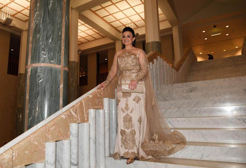 Senator Jacqui Lambie turned heads when she entered the annual press gallery Midwinter Ball at Parliament House on September 18, 2019 in Canberra, Australia. (Photo by Tracey Nearmy/Getty Images)