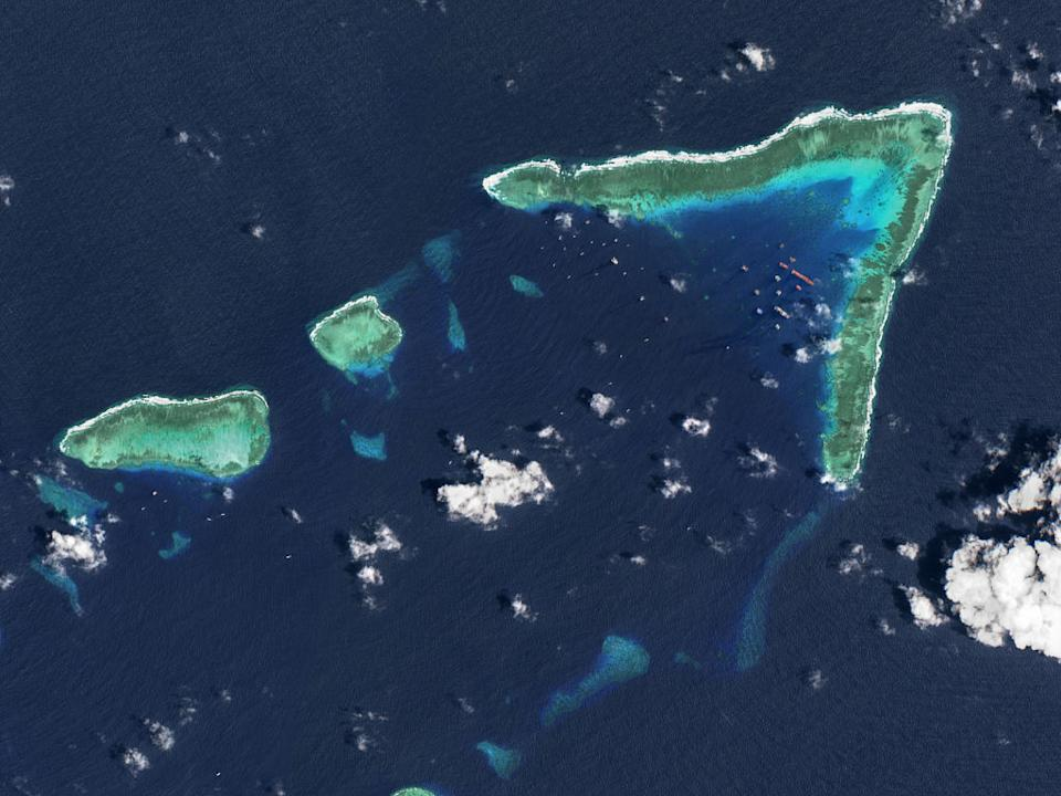 An aerial photo of Whitsun Reef, Spratly Islands, in the South China Sea.