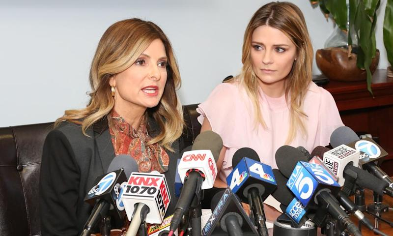 The actor Mischa Barton (right) with her lawyer Lisa Bloom at the press conference in Woodland Hills, California, on Wednesday.