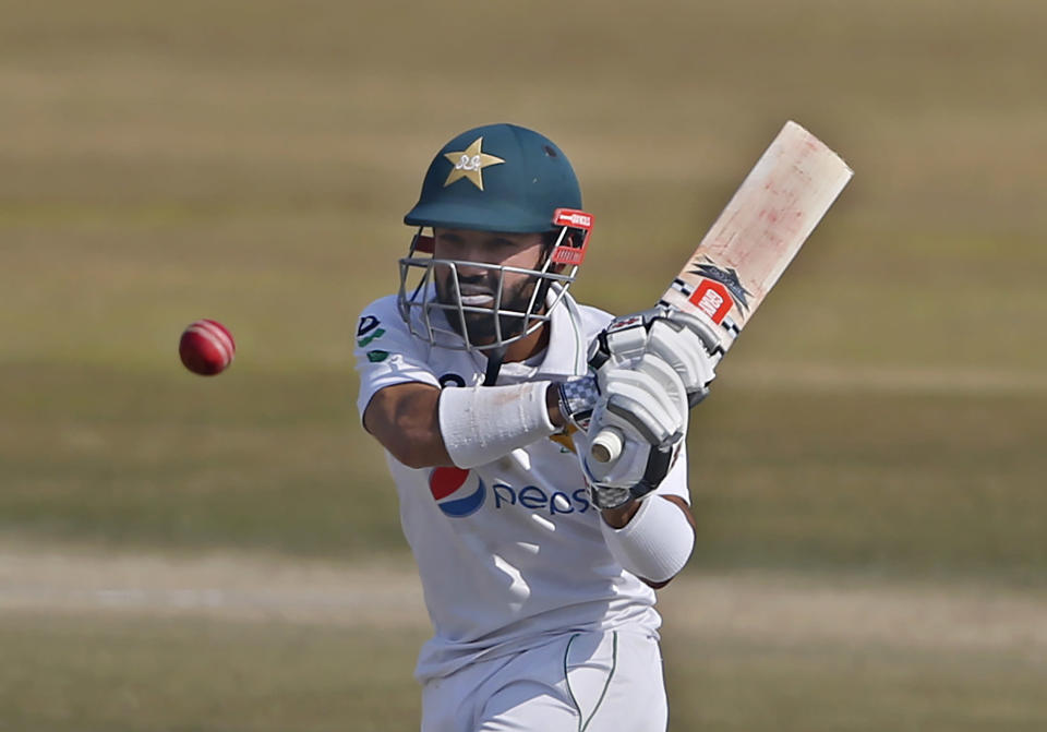 Pakistan's Mohammad Rizwan bats during the fourth day of the second cricket test match between Pakistan and South Africa at the Pindi Stadium in Rawalpindi, Pakistan, Sunday, Feb. 7, 2021. (AP Photo/Anjum Naveed)