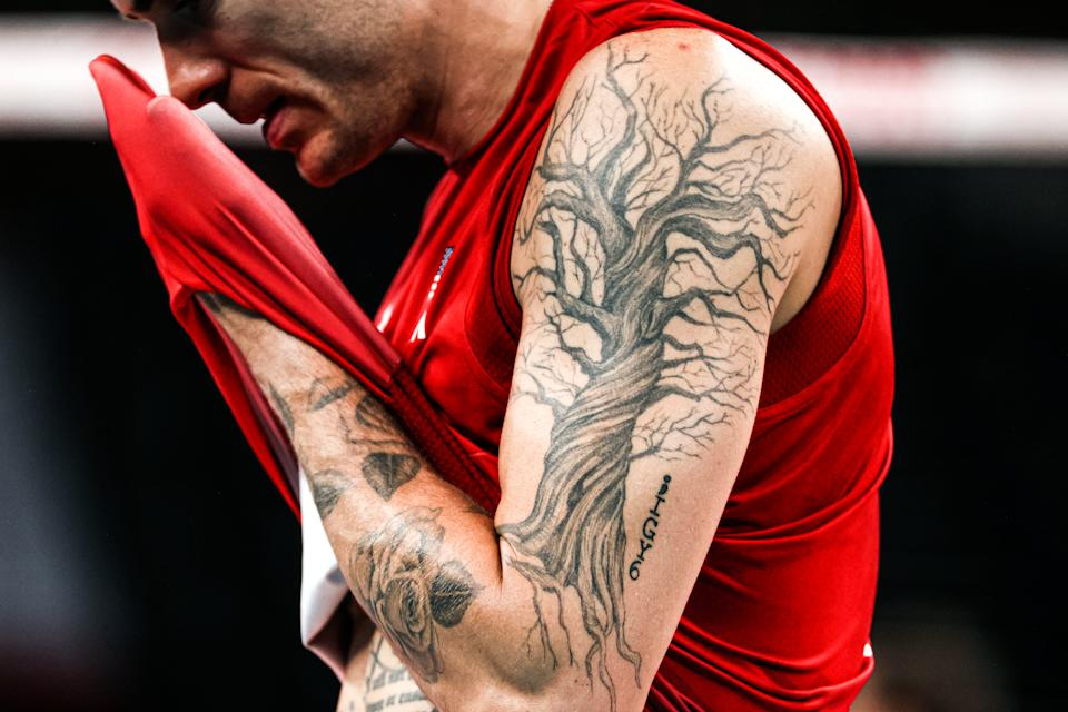 <p>TOKYO, JAPAN - JULY 24: Detail of Matthew Anderson of United States tattoo during Volleyball - Olympics games 2021 match Between USA and France on Day 1 of the Tokyo 2020 Olympic Games at Ariake Arena on July 24, 2021 in Tokyo, Japan. (Photo by Amin Mohammad Jamali/Getty Images)</p>