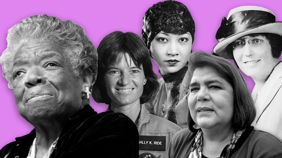 Maya Angelou, Sally Ride, Anna May Wong, Wilma Mankiller and Adelina Otero-Warren. (Photo illustration: Yahoo News; photos: Jemal Countess/WireImage via Getty Images, NASA/Interim Archives/Getty Images, Sasha/Hulton Archive/Getty Images, Peter Turnley/Corbis/VCG via Getty Images, Library of Congress)