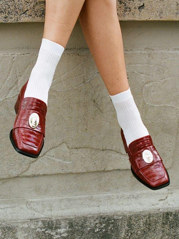 """<p>Nomasei Nono Loafers, $352 (from $392), <a href=""""https://en.nomasei.com/products/mocassins-nono-embosses-rouge"""" rel=""""nofollow noopener"""" target=""""_blank"""" data-ylk=""""slk:available here"""" class=""""link rapid-noclick-resp"""">available here </a></p>"""