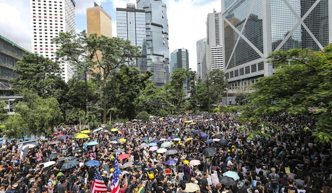 Extradition bill protesters held a rally at Chater Garden in Central this past weekend. Photo: Sam Tsang