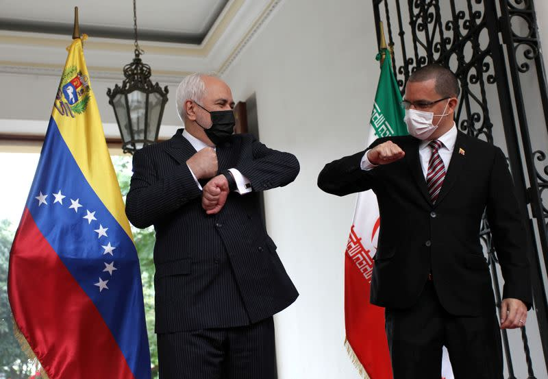 FILE PHOTO: Iran's Foreign Minister Mohammad Javad Zarif meets Venezuela's Foreign Minister Jorge Arreaza in Caracas