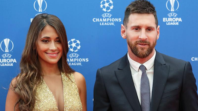 Pictured here, Lionel Messi and his wife Antonela Roccuzzo at an awards presentation.