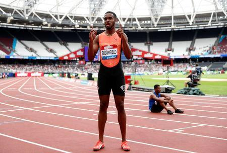 Athletics - Diamond League - London Anniversary Games - The London Stadium, London, Britain - July 22, 2018 Jamaica's Akeem Bloomfield celebrates winning the Men's 200m Action Images via Reuters/Matthew Childs