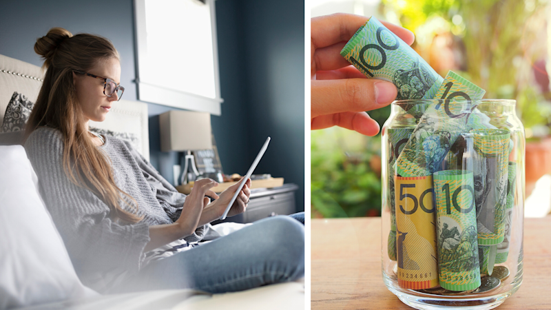 Pictured: Woman checks energy bill, jar of Australian cash suggesting savings. Images: Getty