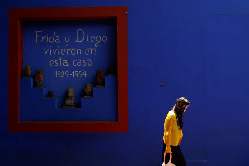 A visitor is seen at Casa Azul (the Blue House), the Frida Kahlo Museum, on their first day open since closing due to the coronavirus disease (COVID-19) outbreak in Mexico City