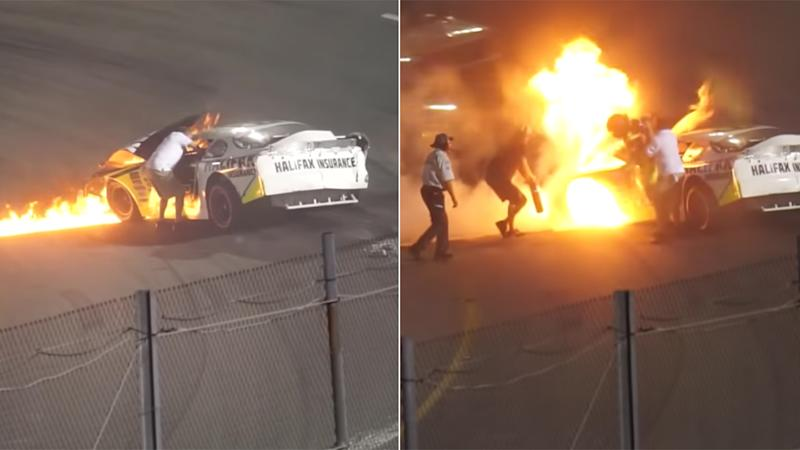 NASCAR disciplines dad for helping pull son out of burning vehicle