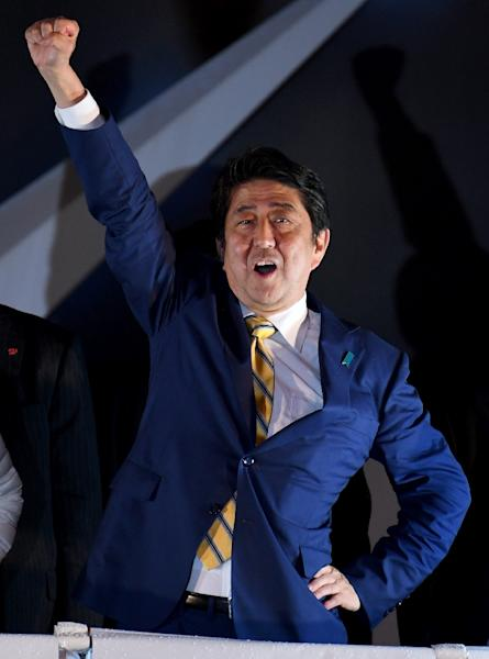 Shinzo Abe is on track to become Japan's longest serving leader after his election win (AFP Photo/Toshifumi KITAMURA)