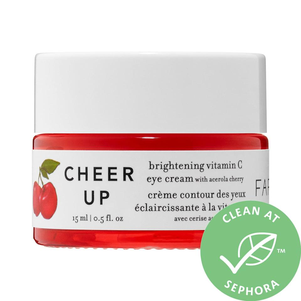 """<p>This top-rated <a href=""""https://www.popsugar.com/buy/Farmacy-Cheer-Up-Brightening-Vitamin-C-Eye-Cream-Acerola-Cherry-553526?p_name=Farmacy%20Cheer%20Up%20Brightening%20Vitamin%20C%20Eye%20Cream%20With%20Acerola%20Cherry&retailer=sephora.com&pid=553526&price=45&evar1=bella%3Auk&evar9=47275268&evar98=https%3A%2F%2Fwww.popsugar.com%2Fbeauty%2Fphoto-gallery%2F47275268%2Fimage%2F47275272%2FFarmacy-Cheer-Up-Brightening-Vitamin-C-Eye-Cream-With-Acerola-Cherry&list1=shopping%2Csephora%2Ceye%20cream%2Cvitamin%20c%2Cbeauty%20shopping&prop13=api&pdata=1"""" rel=""""nofollow noopener"""" class=""""link rapid-noclick-resp"""" target=""""_blank"""" data-ylk=""""slk:Farmacy Cheer Up Brightening Vitamin C Eye Cream With Acerola Cherry"""">Farmacy Cheer Up Brightening Vitamin C Eye Cream With Acerola Cherry</a> ($45) has earned an average 4.5-star rating from other Sephora shoppers for <a href=""""https://www.popsugar.com/beauty/farmacy-cheer-up-eye-cream-review-47166746"""" class=""""link rapid-noclick-resp"""" rel=""""nofollow noopener"""" target=""""_blank"""" data-ylk=""""slk:how well it tackles dark circles"""">how well it tackles dark circles</a>. It's a bouncy cream with three types of vitamin C - including acerola cherry, one of the richest sources of vitamin C around - added to other brightening actives and hydrating hyaluronic acid.</p>"""