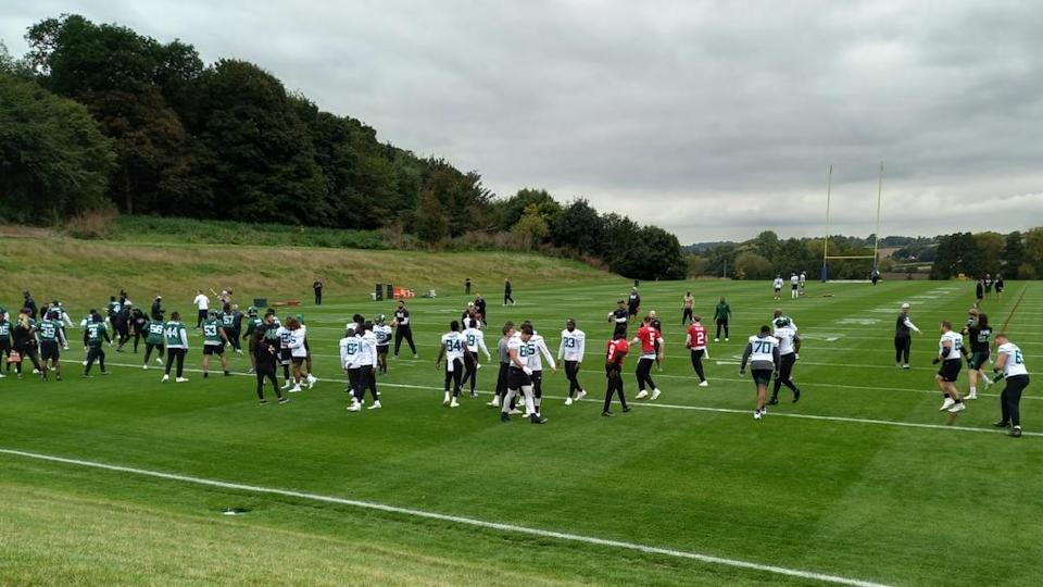 Jets practicing outside of London on Oct. 8, 2021