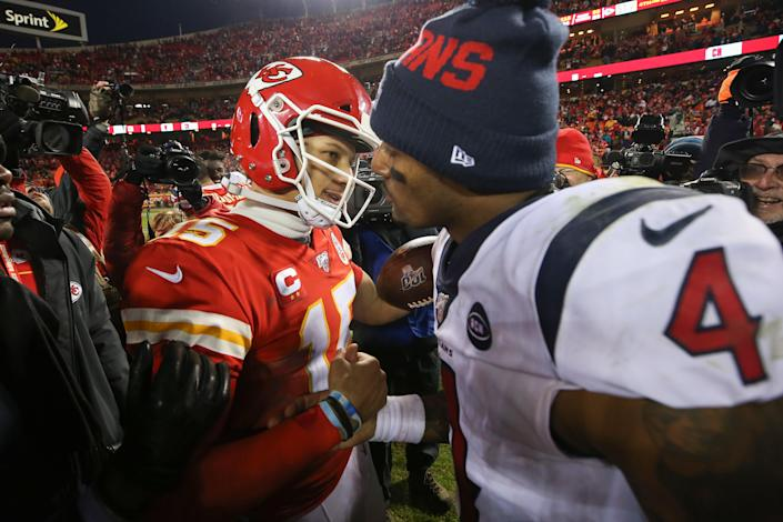 Patrick Mahomes (15) and Deshaun Watson were two of the 10 Black starting quarterbacks during Week 1, a significant mile marker for the NFL. (Photo by Jamie Squire/Getty Images)