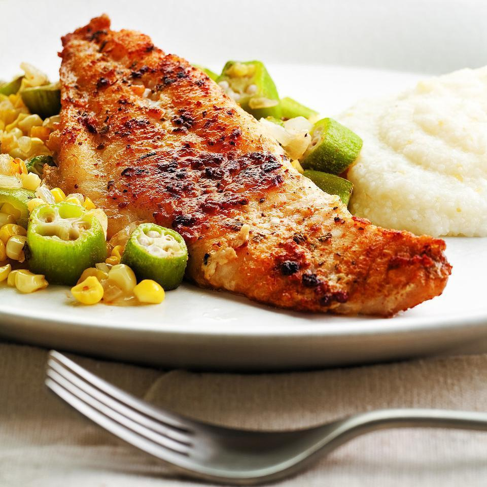 <p>Purchased Cajun or Creole seasoning flavors both the catfish and vegetables in this 30-minute dinner. This dish is best with fresh vegetables, but we were pleasantly surprised at how well it turned out with frozen okra and corn. Serve with cheese grits and a green salad.</p>
