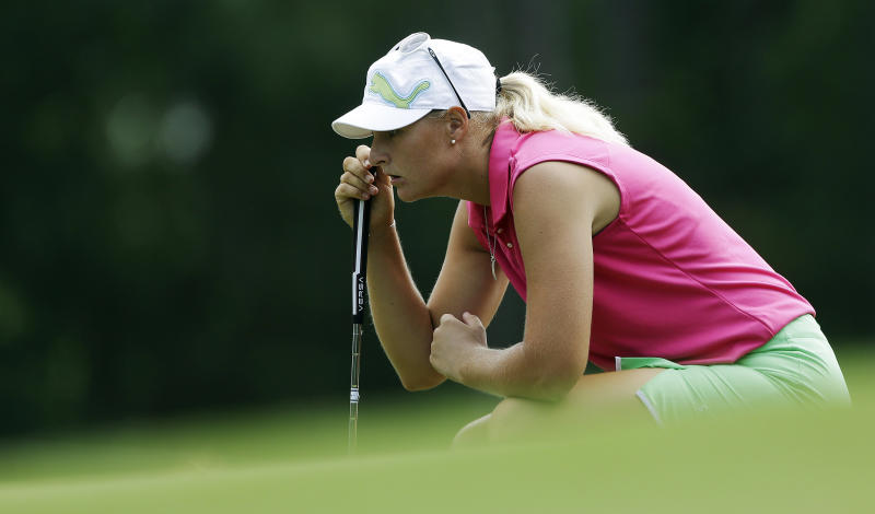 Anna Nordqvist, of Sweden, lines up her putt on the 16th hole during third round play in the Mobile Bay LPGA Classic golf tournament at the Robert Trent Jones Golf Trail at Magnolia Grove in Mobile, Ala. Saturday, May 18, 2013. (AP Photo/Dave Martin)