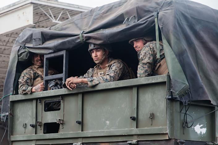 Members of the military sent to secure the U.S.-Mexico border sit in a truck near the Otay Mesa west of San Diego on Nov. 15, 2018. (Photo: Ariana Drehsler/AFP/Getty Images)