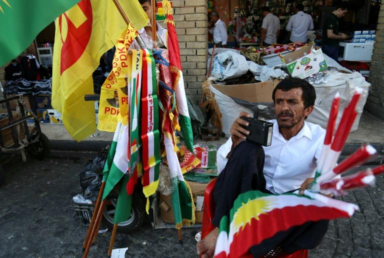 Kurdish flags for sale in regional capital Arbil on September 23, 2017