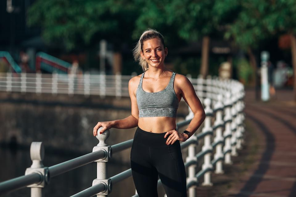 Courtney founded Momentum Bootcamps and trains group fitness outdoors in the Botanic Gardens.