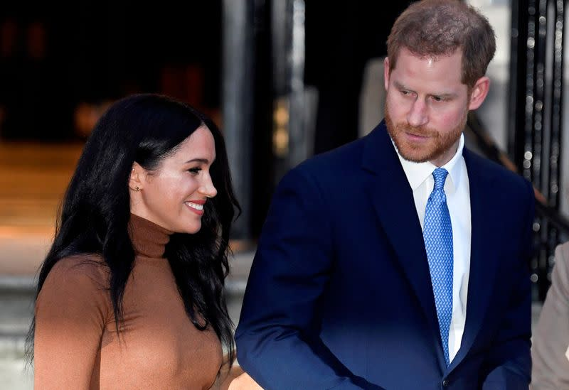 FILE PHOTO: FILE PHOTO: Britain's Prince Harry and his wife Meghan, Duchess of Sussex, leave Canada House in London