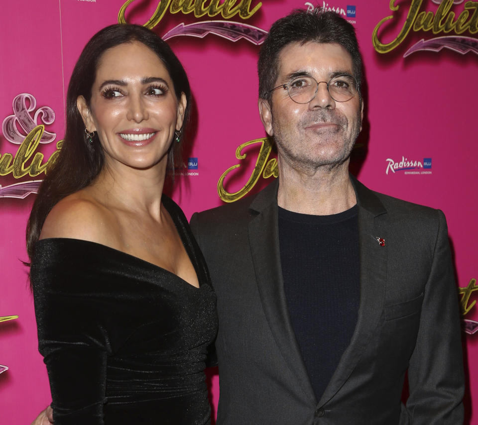 """Simon Cowell and Lauren Silverman at the press night opening for """"& Juliet"""" held at The Shaftesbury Theatre on November 20, 2019 in London, England, UK."""