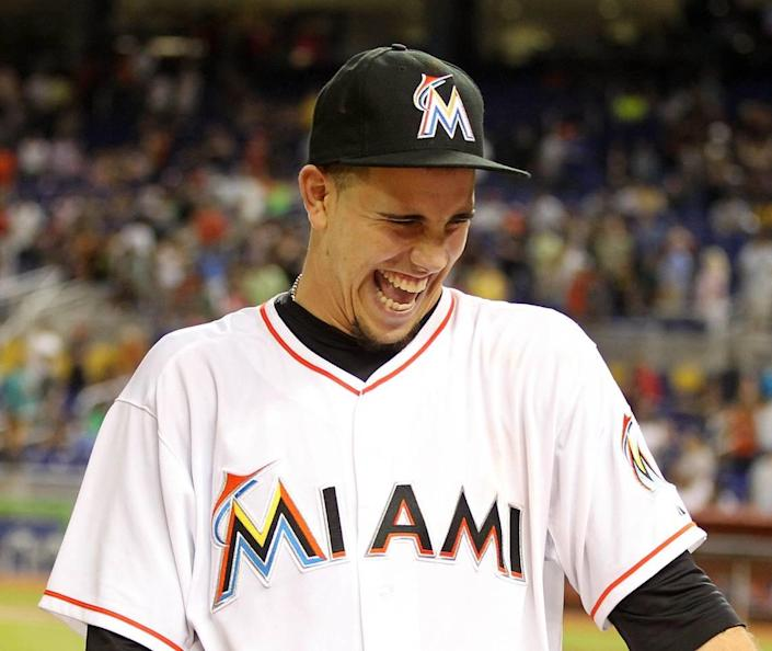 Pitcher Jose Fernandez laughs after the Miami Marlins defeated the Cleveland Indians, 10-0, at Marlins Park in Little Havana in Miami on Friday, Aug. 2, 2013. Fernandez had 14 strikeouts in eight innings.