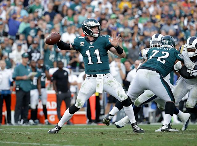 Eagles quarterback Carson Wentz is confident he'll return in time for the season opener this fall after tearing his ACL and LCL late last season. (Getty Images)