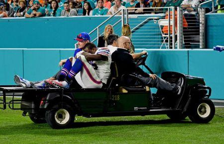 Dec 31, 2017; Miami Gardens, FL, USA; Buffalo Bills running back LeSean McCoy (25) is carted off the field during the second half against the Miami Dolphins at Hard Rock Stadium. Mandatory Credit: Steve Mitchell-USA TODAY Sports