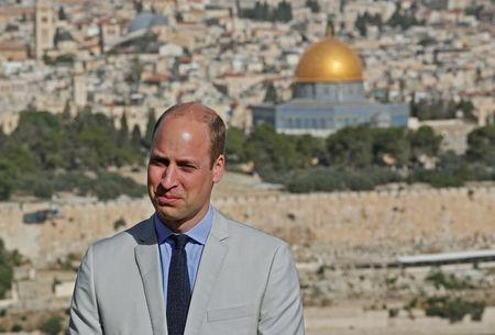 Britain's Prince William visits an observation point on Mount of Olives, overlooking Jerusalem's Old City, June 28, 2018. Thomas Coex/Pool via Reuters