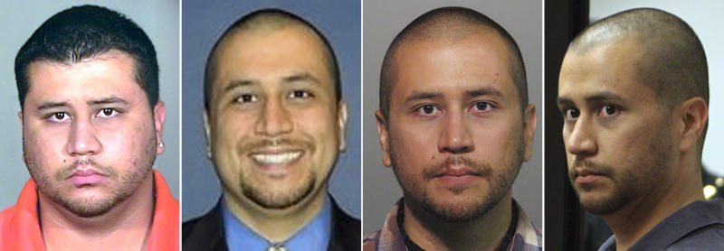 This photo combo shows photos of George Zimmerman that have been released since he shot and killed 17-year-old Trayon Martin on Feb. 26. From left, a 2005 booking photo provided by the Orange County Jail, an undated but recent photo taken from the Orlando Sentinel's website, an April 11, 2012 booking mug provided by the Sanford Police, and Zimmerman during is April 12, 2012 court appearance in Sanford, Fla. Much has already been made about outdated photos of Martin and Zimmerman that were the dominant images of early news coverage of the case. While more recent photos of a thinner Zimmerman had surfaced, the live television footage and photos taken at the hearing have given people around the country a more extensive look at him than they've had up to this point. (AP Photo)