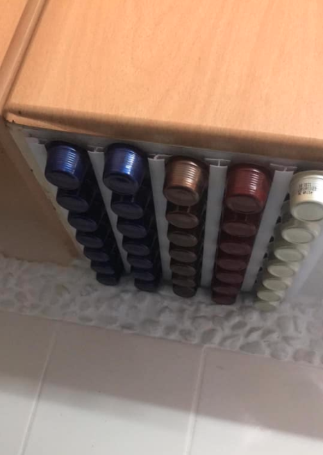 Storing coffee pods in a kitchen