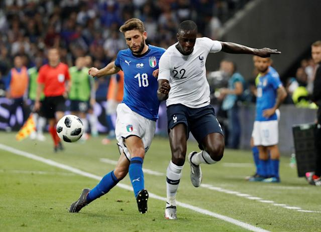 Soccer Football - International Friendly - France vs Italy - Allianz Riviera, Nice, France - June 1, 2018 France's Benjamin Mendy in action with Italy's Domenico Berardi REUTERS/Eric Gaillard