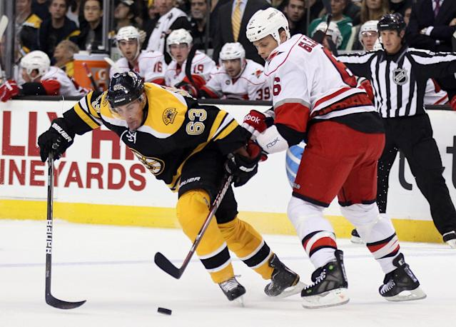 BOSTON, MA - OCTOBER 18: Brad Marchand #63 of the Boston Bruins and Tim Gleason #6 of the Carolina Hurricanes fight for the puck on October 18, 2011 at TD Garden in Boston, Massachusetts. (Photo by Elsa/Getty Images)