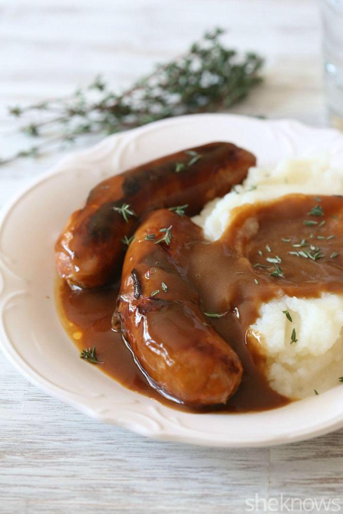 """<p>Offer bangers and mash — an Irish staple composed of sausage and mashed potatoes smothered in gravy— for a touch of traditional cuisine. </p><p><a href=""""http://www.sheknows.com/food-and-recipes/articles/1075991/bangers-mash-guiness-gravy-recipe"""" rel=""""nofollow noopener"""" target=""""_blank"""" data-ylk=""""slk:Get the recipe from She Knows »"""" class=""""link rapid-noclick-resp""""><em>Get the recipe from She Knows »</em></a></p>"""
